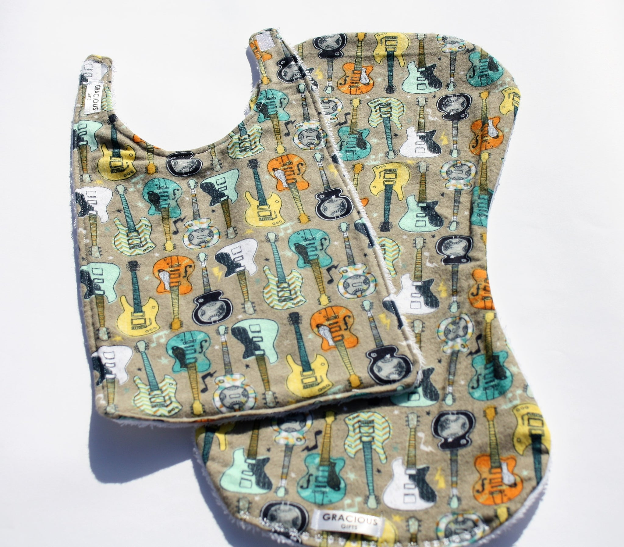 Bib and Burp Cloth - Guitar Grey