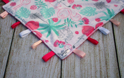 Girl Flamingo Taggy Blanket