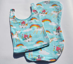 Bib and Burp Cloth - Unicorn Blue