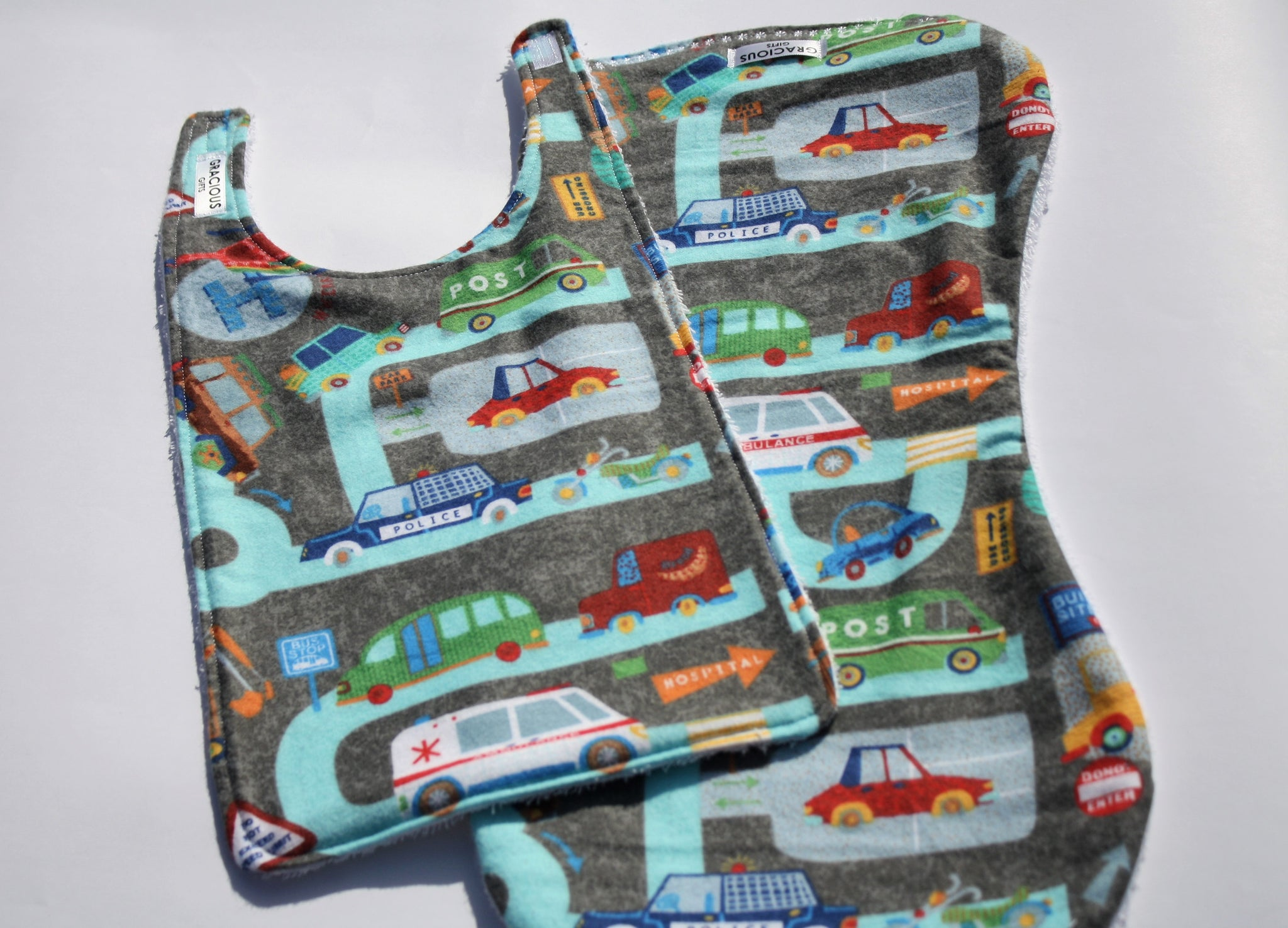 Bib and Burp Cloth - Car, Trucks, Helicopter