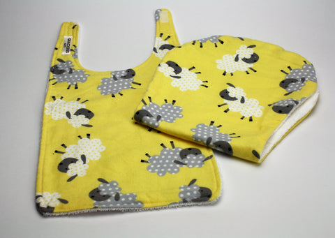 Yellow Sheep Bib and Burp Cloth