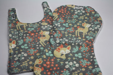 Girl woodland Bib and Burp Cloth