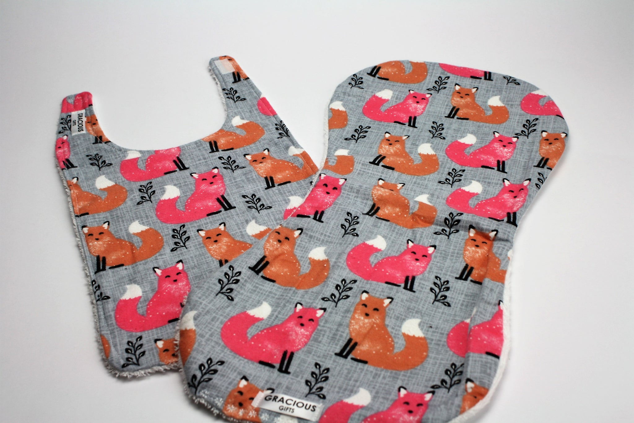 Fox Bib and Burp Cloth