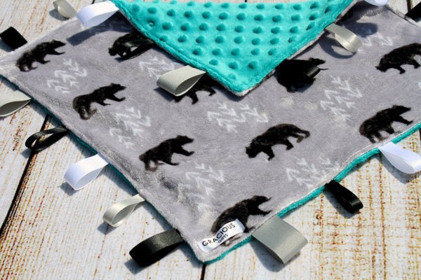 Gender Neutral Bear Taggy Blanket