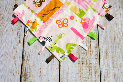 Girl Pink Jungle Animal Taggy Blanket