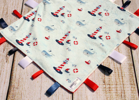 Gender Neutral Light Blue Nautical Whale Taggy Blanket