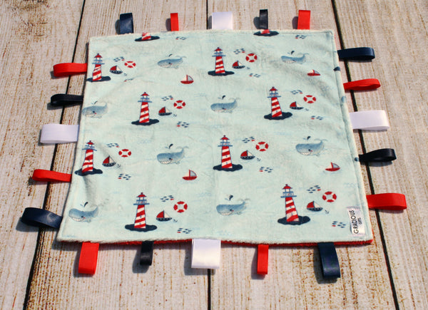 Nautical Light Blue Taggy Blanket