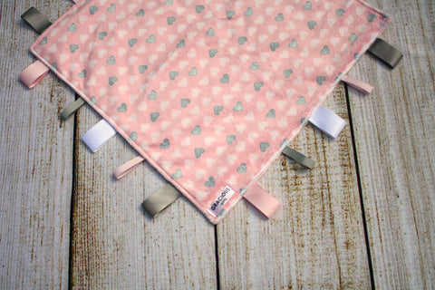 Girl Pink Heart Taggy Blanket