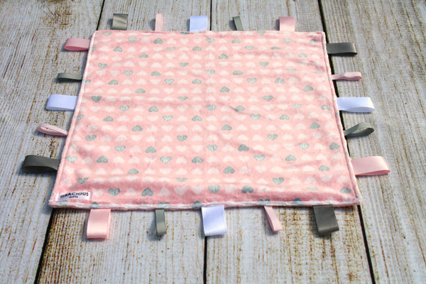 Pink Heart Taggy Blanket