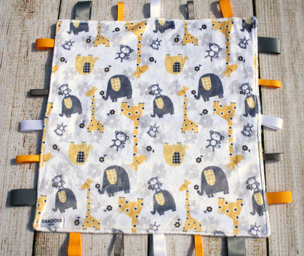 Gender Neutral Yellow Safari Animal Taggy Blanket