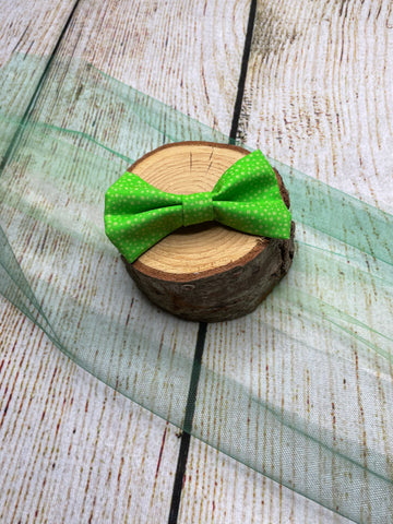 Green Fabric Bow Clip