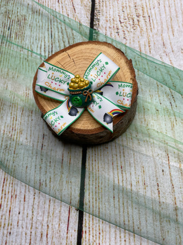 Pinwheel Pot of Gold Bow Clip