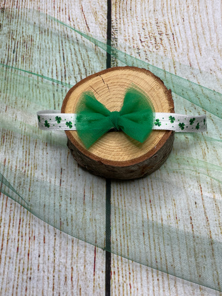 Medium Green Bow with Clover Headband