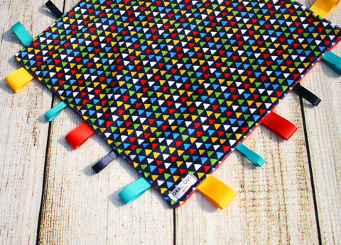 Gender neutral Colorful Triangle Taggy Blanket