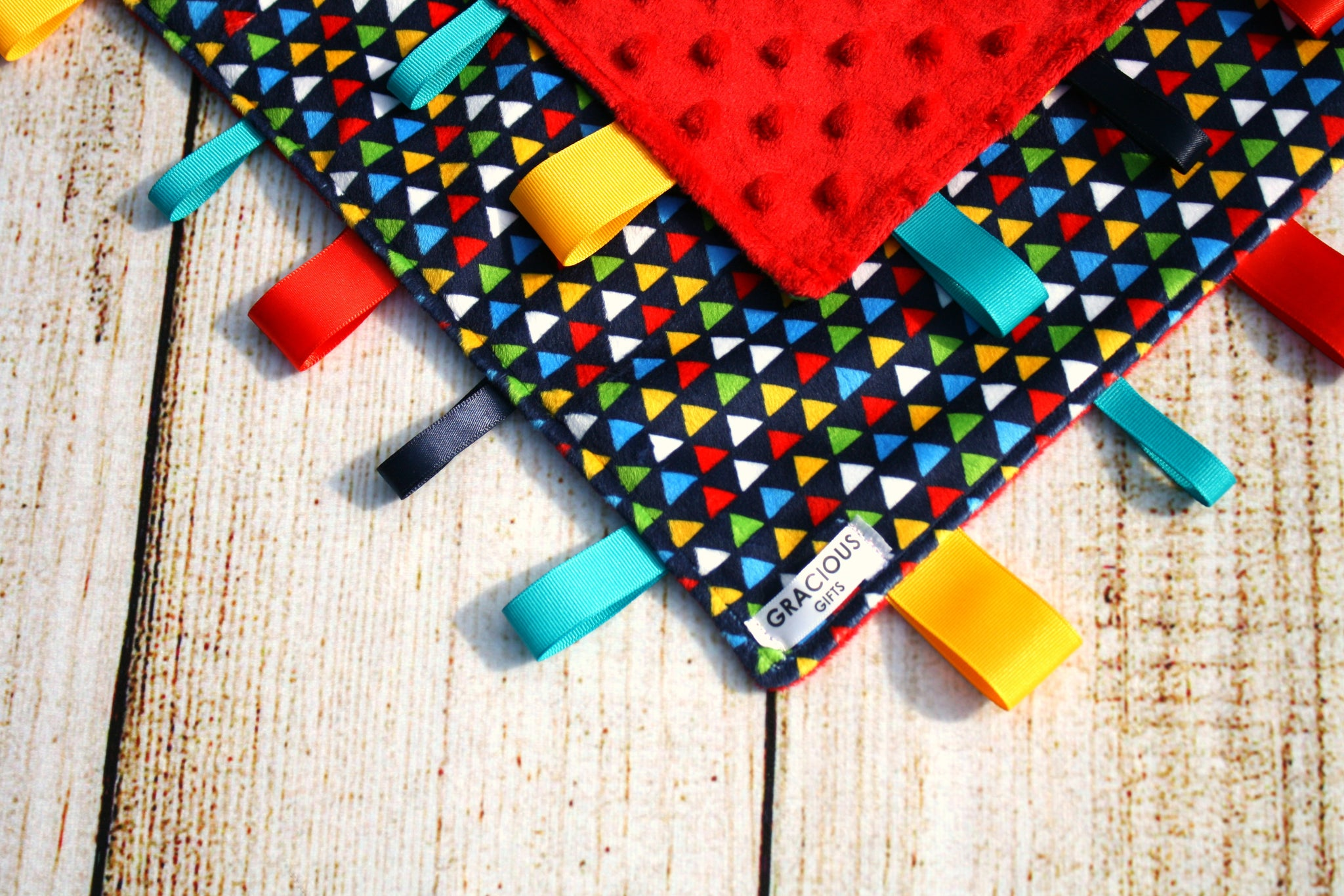 Colorful Triangle Taggy Blanket