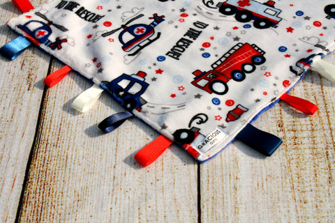 Boy Fire and Rescue Taggy Blanket