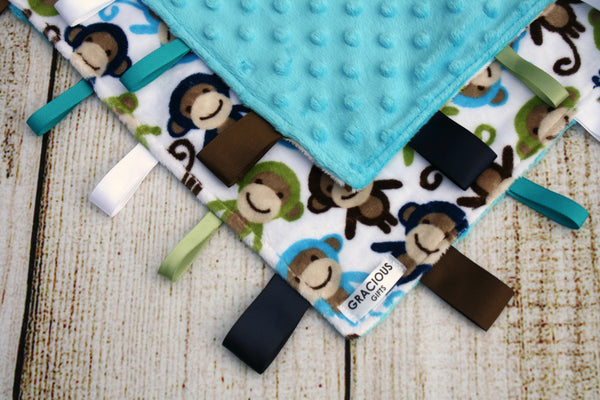 Monkey Taggy Blanket