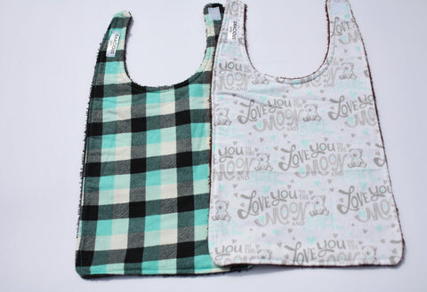 Long Bib Set - Blue Plaid/Love to Moon and Back