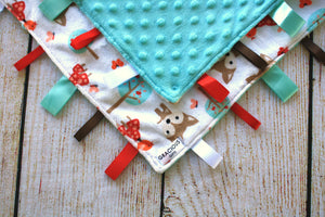 Deer White Taggy Blanket