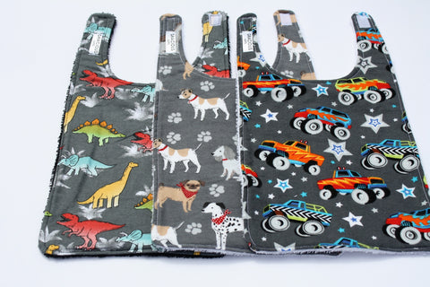 Long Bib Set - Dino/Dog/Monster Truck