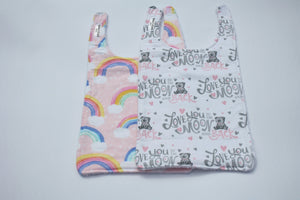 Long Bib Set - Rainbow/Love to Moon and Back
