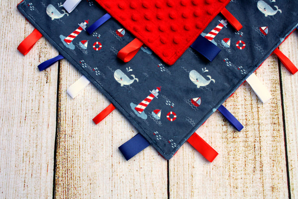 Nautical Navy Taggy Blanket