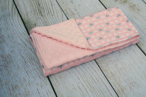 Pink and Grey Heart Blanket