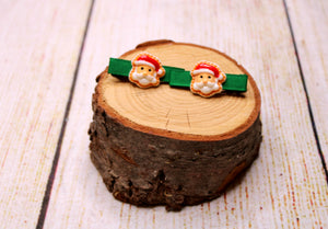 Santa Claus Green Ribbon Clips