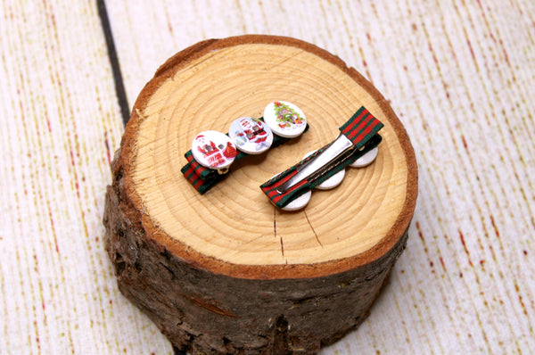 Christmas Tree and Santa Button Clips