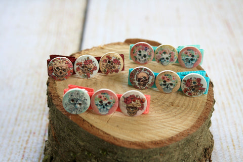 Skull Button Hair Clips