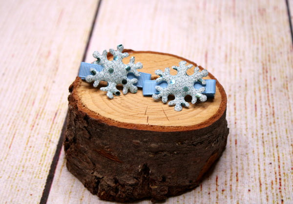 Snowflake with Blue Ribbon Clips