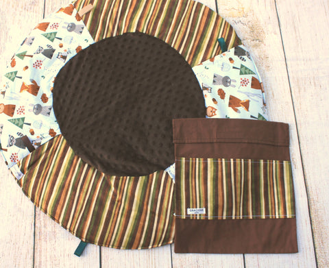 Woodland Brown Stripes Travel Playmat