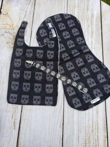 Bib and Burp Cloth - Black Skull