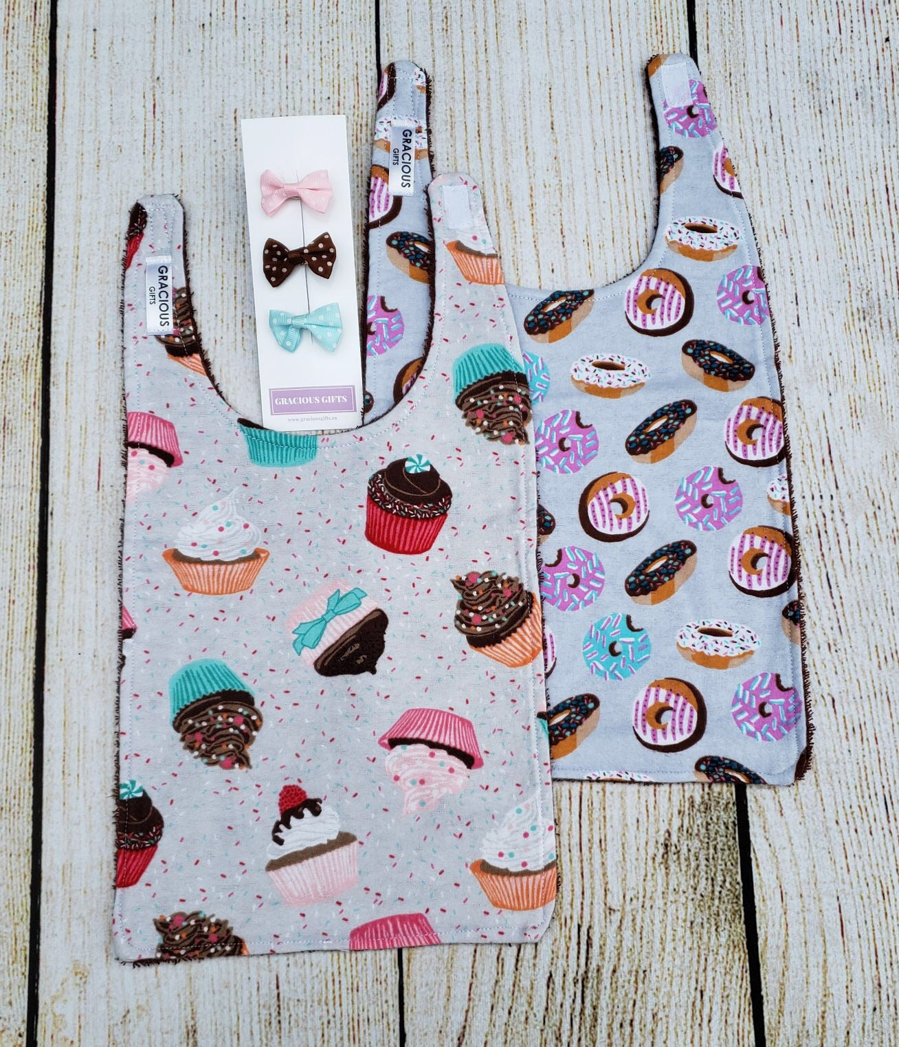 Long Bib Set - Cupcake/Donut and Hair Clips