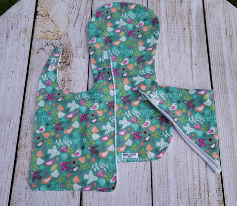 Bib and Burp Cloth - Floral Birds