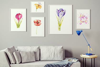 Set of Five Flowers and Quote Canvas Paintings , Canvas Designs, Painting Canvas Designs, Art Designs, Original and Prints