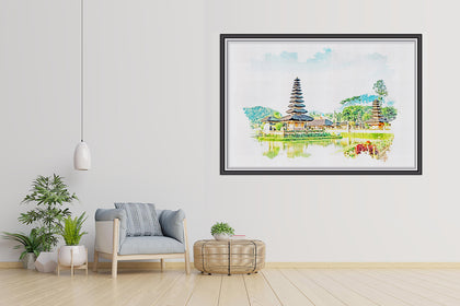 Ulun Danu Beratan Temple Paintings, Canvas Designs, Painting Canvas Designs, Printable Art Designs