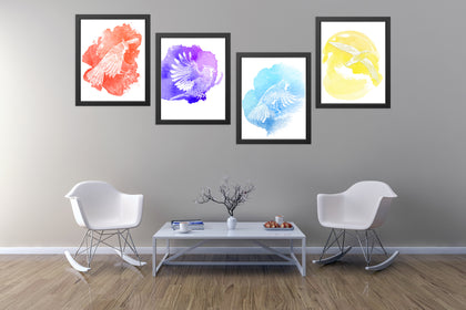 Set of Four ColorBirds Paintings, Canvas Designs, Painting Canvas Designs, Printable Art Designs