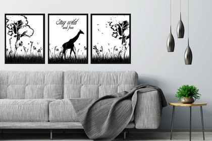 Set of Three Stay Wild Paintings, Canvas Picture Designs, Painting Canvas Designs, Art Designs