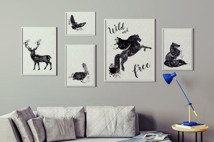 Set of Five Wild and Free Paintings, Canvas Designs, Painting Canvas Designs, Art Designs, Original and Prints