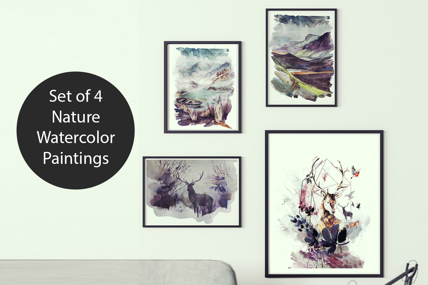 Set of Four Nature Watercolor Paintings, Canvas Designs, Painting Canvas Designs, Art Designs, Original and Prints