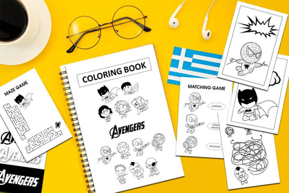 Avenger Coloring Book, Kids Activity Coloring Book, Coloring Pages, Write The Name, Words Search, Matching Game, Maze Game.