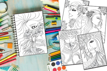 Set 5 Beautiful Girls Coloring Pages, Happy Mother's Day, Happy Women's Day: Pretty Women's Day Gift