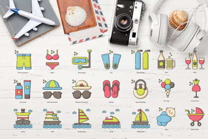 Set Of 80 Travel Icons. Color Version, Control Thickness Of Lines, Change Colors, Scale Without Losing Quality