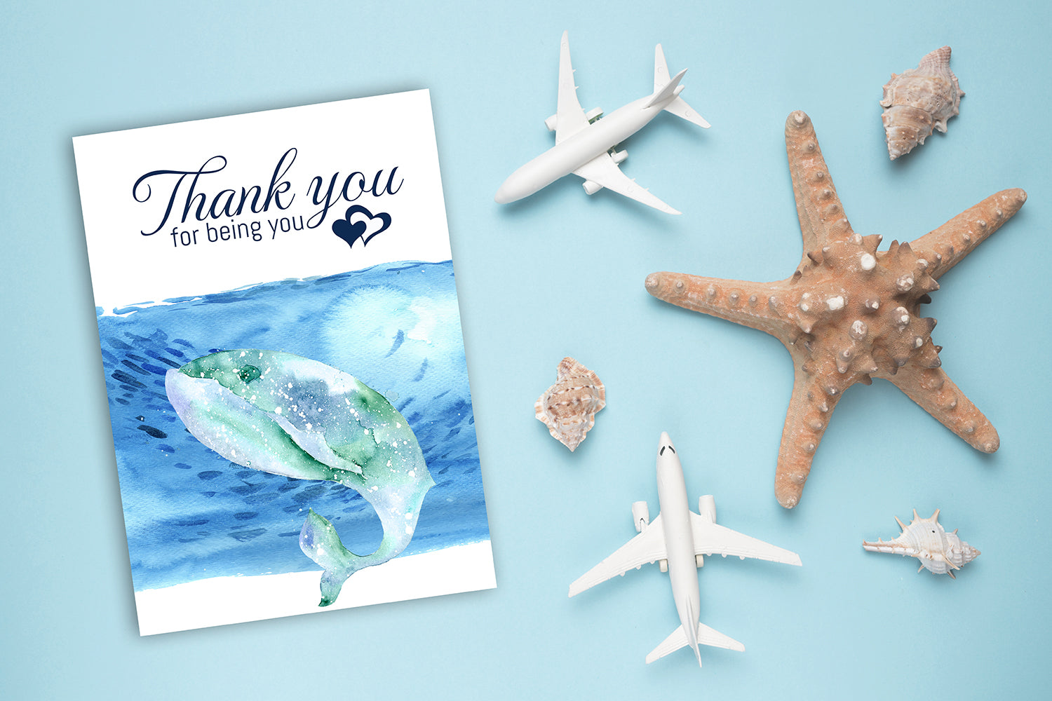 Thank You Card, Whale Thank You Card Design, Thank You For Being You, Instant Download