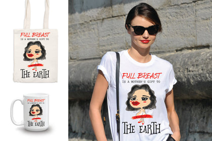 Full Breast Set, Funny Mother's Day Gifts, T-shirt, Cup, Bag, Notebook - Best Gift For Mother In A Special Day