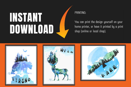Set of Three Animal Canvas Paintings, Canvas Designs, Painting Canvas Designs, Art Designs, Printable Digital Art