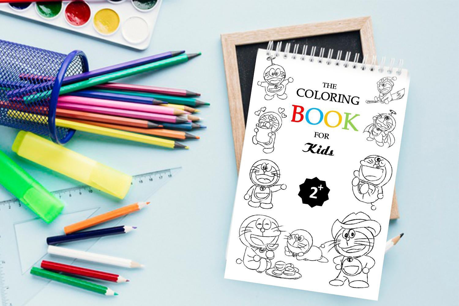 The Coloring Book For Kids 2+, Doremon Coloring Book, Kids activity coloring book, Coloring Pages, Practise Writing, Words Search, Maze Game