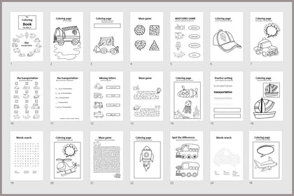 The Transportation Coloring Book, The Coloring Boof For Kids 3+, Kids Activity Coloring Book, Words Search, Matching Game, Maze Game