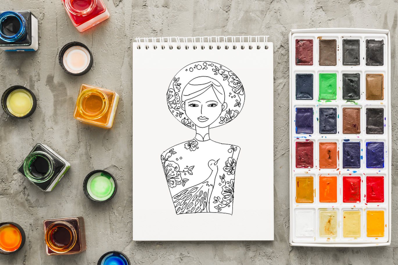 COLORING BOOK - Pretty Vietnamese Girls Set, Coloring Pages Printable & Editable